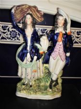 VICTORIAN STAFFORDSHIRE POTTERY FLAT BACK FIGURINE BOLD COBALT LADY GENT 12.25""
